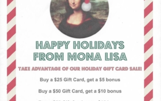 Our holiday gift card promotion is back. Purchase your gift cards today!